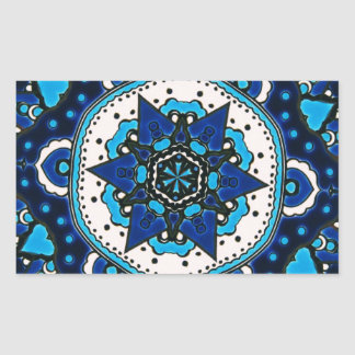 Ottoman  Islamic Tile Design With Geometry Rectangular Sticker