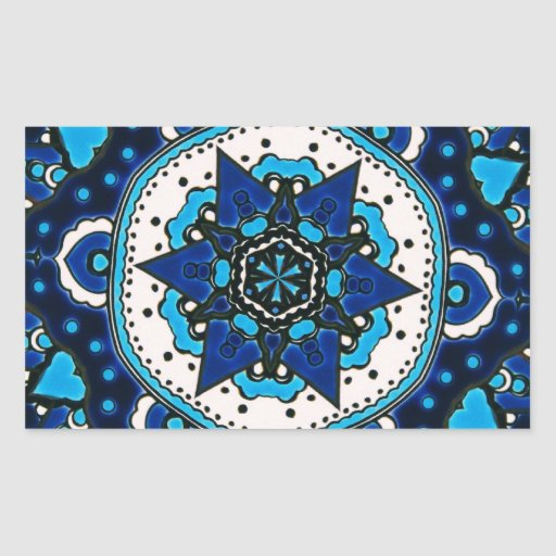 Ottoman  Islamic Tile Design With Geometry Rectangle Stickers