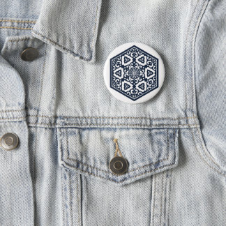 Ottoman turkish blue ware tracery design 6 cm round badge