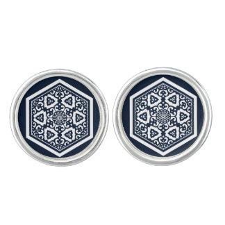 Ottoman turkish blue ware tracery design cuff links