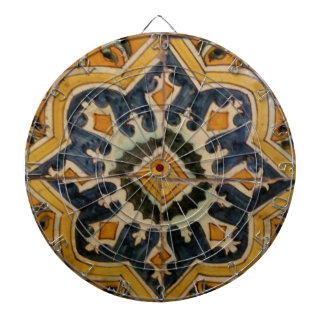 Ottoman Turkish vintage ceramic tile yellow star Dartboard