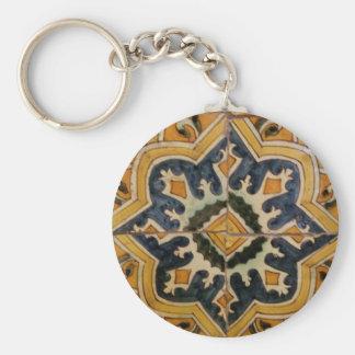 Ottoman Turkish vintage ceramic tile yellow star Key Ring
