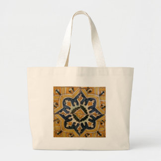 Ottoman Turkish vintage ceramic tile yellow star Large Tote Bag