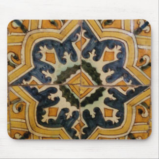 Ottoman Turkish vintage ceramic tile yellow star Mouse Pad