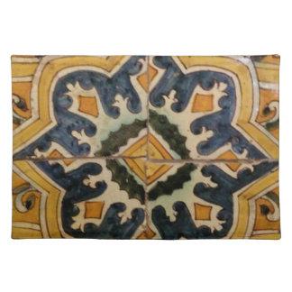 Ottoman Turkish vintage ceramic tile yellow star Placemat