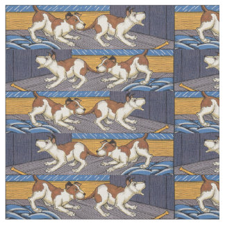 OUCH! dog bites dog novelty print Fabric