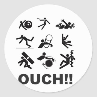 ouch pain classic round sticker