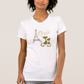 Oui Paris Elegant Gold Eiffel Tower And Cats T-Shirt