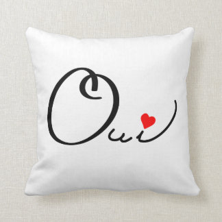 Oui Yes French Script White Red Heart Typography Cushion