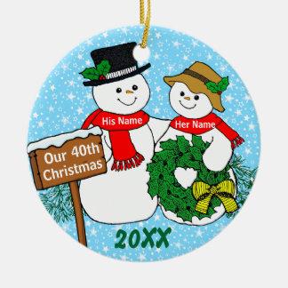 Our 40th Christmas Ceramic Ornament