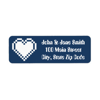 Our 8-Bit Hearts in Navy Return Address Label