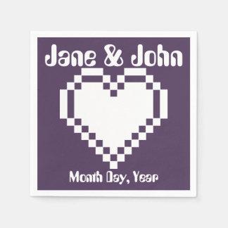 Our 8-Bit Hearts in Purple Napkins Disposable Serviette