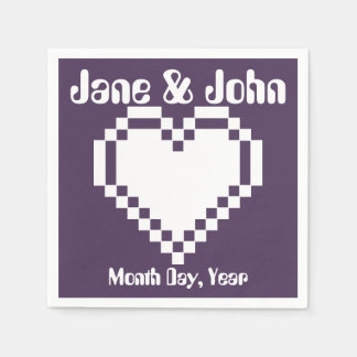 Our 8-Bit Hearts in Purple Napkins Paper Napkin