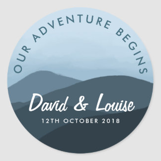 Our adventure begins blue mountain wedding sticker