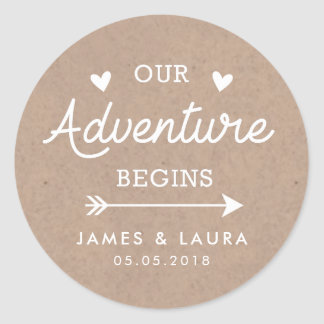 Our adventure begins kraft paper wedding sticker