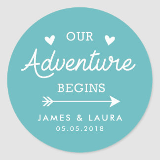Our adventure begins turquoise wedding sticker