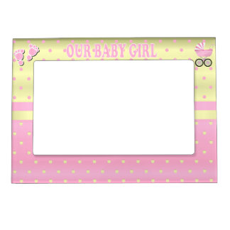 Our Baby Girl -  Baby Pink * Yellow Polka Dots Magnetic Picture Frame