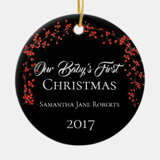Our Baby's First Christmas - Name Date & Photo - Ceramic Ornament