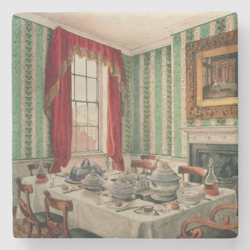 Our Dining Room at York, 1838 Stone Beverage Coaster