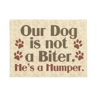 Our Dog is Not A Biter Humor Doormat