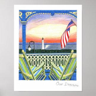 Our Dream Beach House Lighthouse Poster