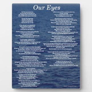 Our Eyes Love Poem Ocean Waves Plaques