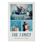 Our Family | Modern Three Photo Grid Poster