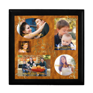 Our Family Photo Album Collage Large Square Gift Box