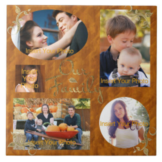 Our Family Photo Album Collage Large Square Tile