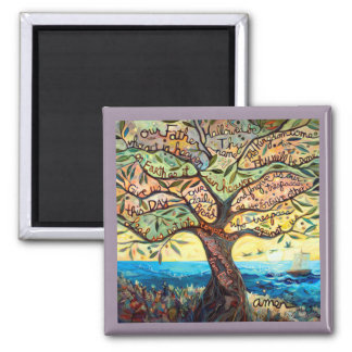 Our Father Prayer in an Olive Tree Square Magnet