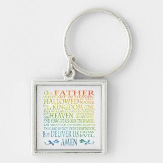 'Our Father' Prayer Silver-Colored Square Key Ring