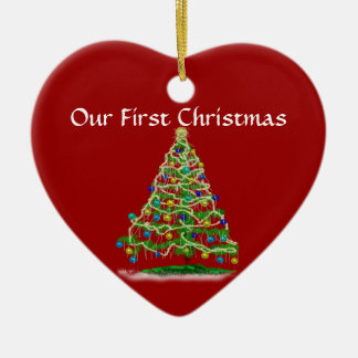Our First Christmas - Arty Abstract Christmas Tree Ceramic Heart Decoration