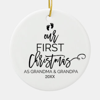 Our First Christmas as Grandma and Grandpa Holiday Ceramic Ornament