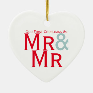 Our First Christmas as Mr and Mr Gay Themed Ceramic Ornament