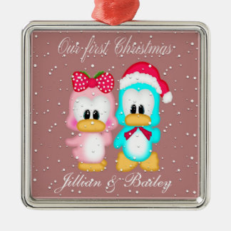 Our First Christmas as Mr. and Mrs. Ornament Silver-Colored Square Ornament