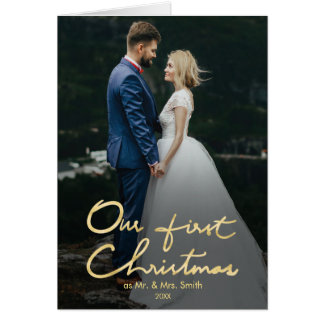 Our First Christmas as Mr. & Mrs.   Newlywed Photo Card