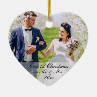 Our First Christmas as Mr. & Mrs. Photo RS Ceramic Ornament