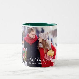 Our First Christmas Couple Photo Green White Two-Tone Coffee Mug
