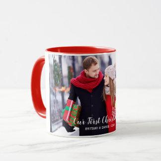 Our First Christmas Couple Photo Red Mug