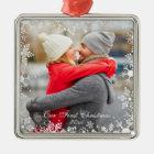 Our First Christmas Couple Photo Snowflake Border Metal Ornament