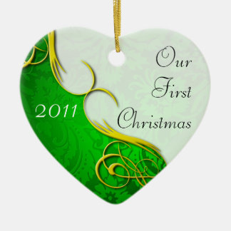 Our First Christmas Damask Christmas Tree Ornament