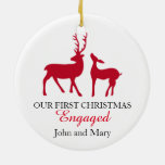 Our first Christmas Engaged ornament, love deers Round Ceramic Decoration