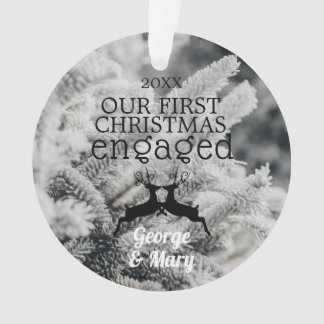 Our First Christmas Engaged Pine Trees Winter B&W Ornament