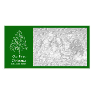 Our First Christmas Green Customized Photo Card