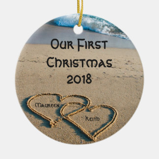 Our First Christmas Hearts In Sand Circle Ornament
