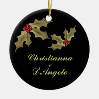 """Our First Christmas/Husband and Wife"" Double-Sided Ceramic Round Christmas Ornament"