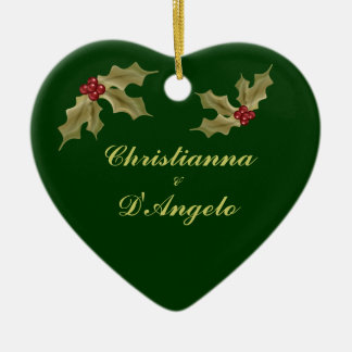 """""""Our First Christmas/Husband and Wife"""" Ceramic Heart Decoration"""
