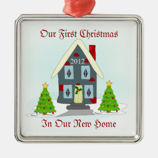 Our First Christmas In New Home Holiday Metal Ornament
