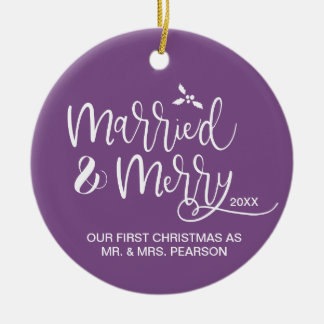 Our First Christmas, Married and Merry, Purple Ceramic Ornament