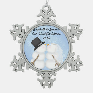 Our First Christmas Married Wedding Engagement Snowflake Pewter Christmas Ornament